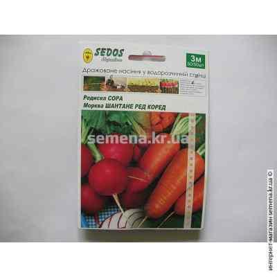 Семена редиса Сора и моркови Шантане Ред Коред на ленте 3 м.