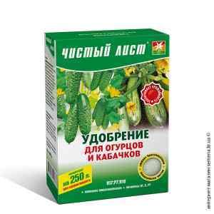Удобрение для огурцов и кабачков «Чистый лист», 300 г.